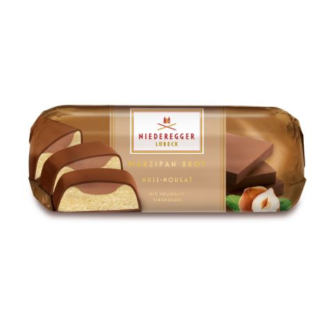 Nougat Praline Filled Milk Chocolate Covered Marzipan NIEDEREGGER Bar Loaf 75g